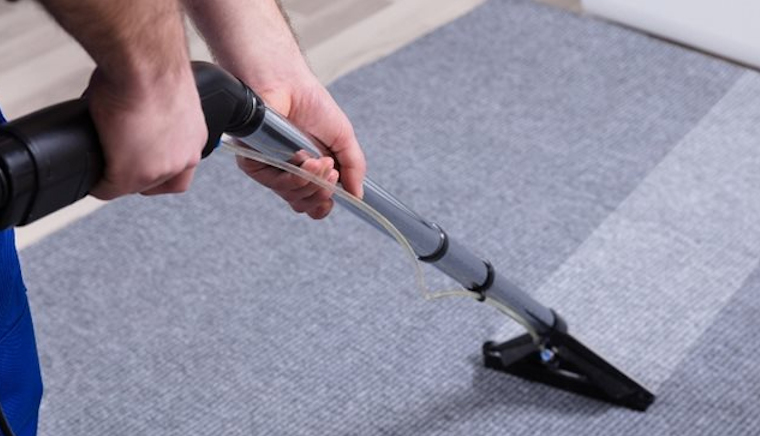 A carpet steam cleaning