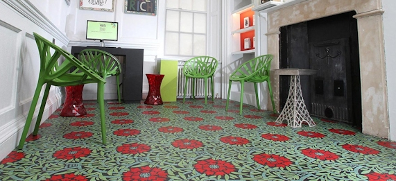 Flower pattern Marmoleum flooring