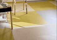 Yellow Marmoleum floor in a kitchen