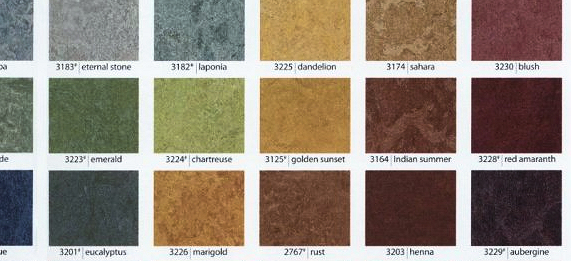 The range of Marmoleum flooring