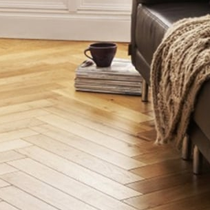 Chevron patterned wooden floor